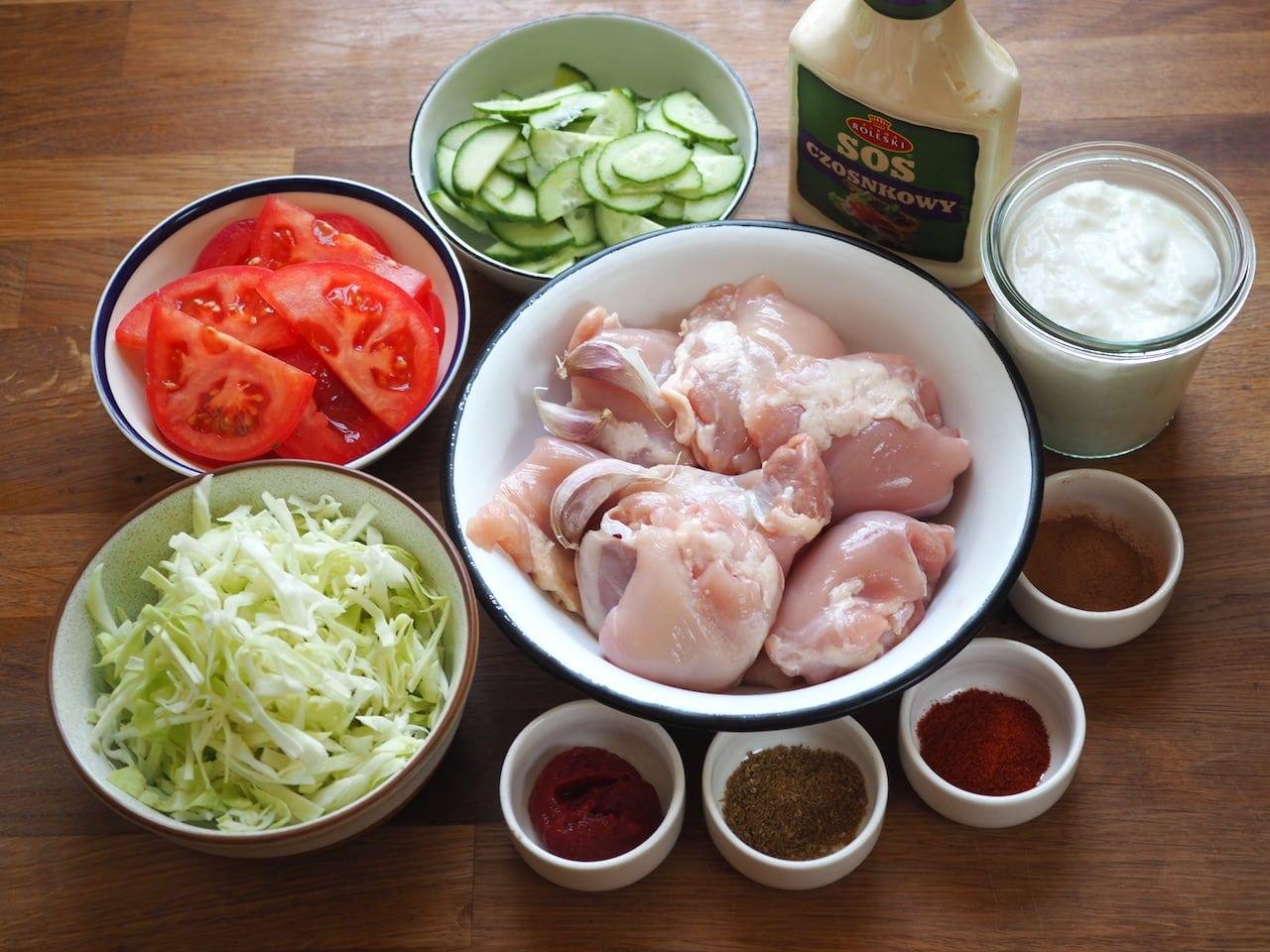 składniki do kebaba